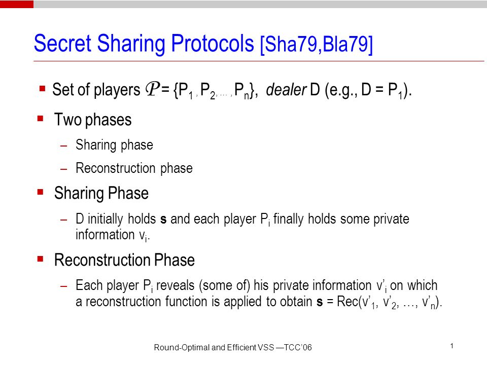 Secret Sharing Protocols [Sha79,Bla79]